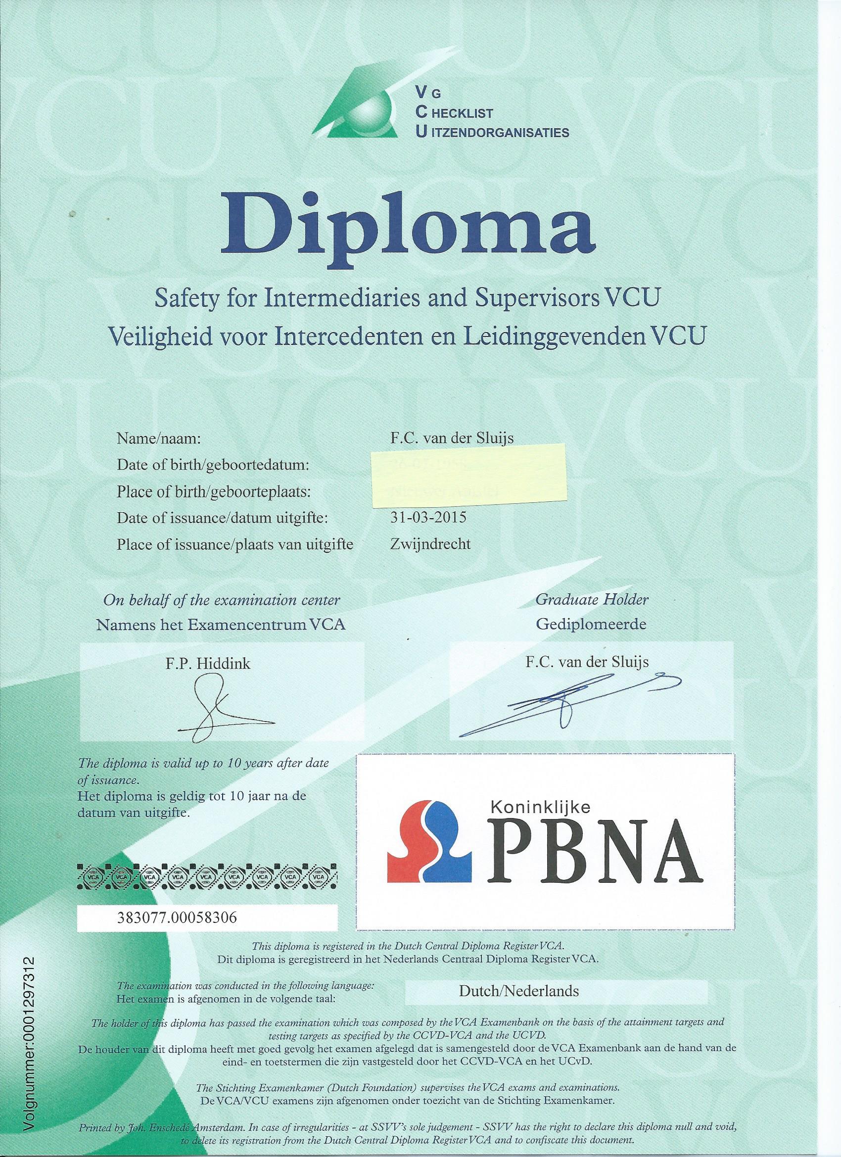 VCU certificaat